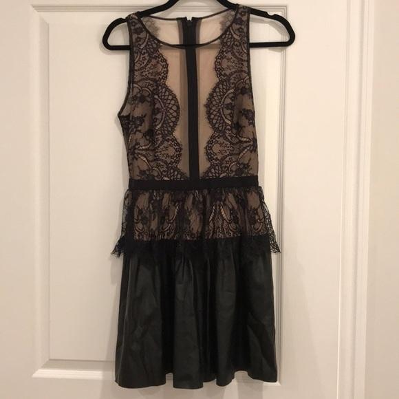 85e4b64c5e5 BCBGMaxAzria Dresses   Skirts - BCBG Layton Lace And Faux-Leather Dress    Size 4